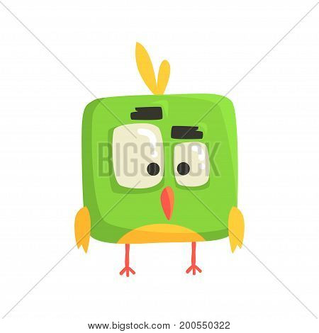 Cute little green funny chick bird square shape colorful character vector Illustration on a white background
