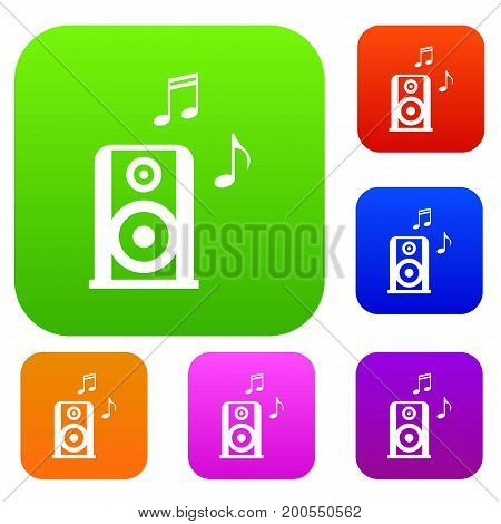 Portable music speacker set icon in different colors isolated vector illustration. Premium collection
