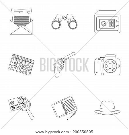 Pistol, tube, identification, magnifier and other attributes. Detective set collection icons in outline style vector symbol stock illustration .