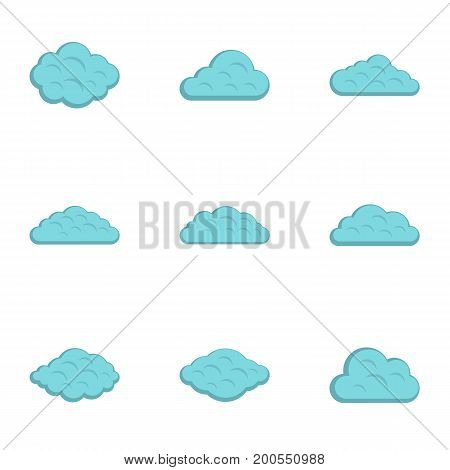 Tropical cloud icon set. Flat set of 9 tropical cloud vector icons for web isolated on white background