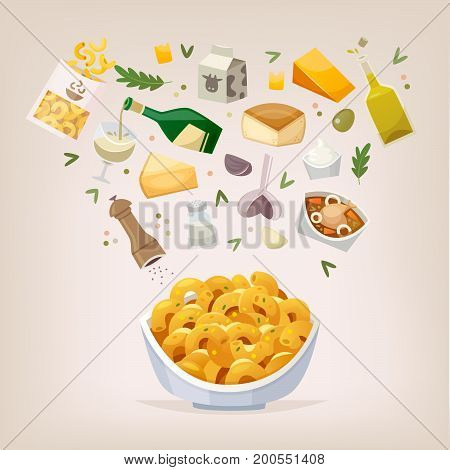 Cooking process of preparing mac and cheese dish for dinner with family. This vector illustration can be used in menu brochures.
