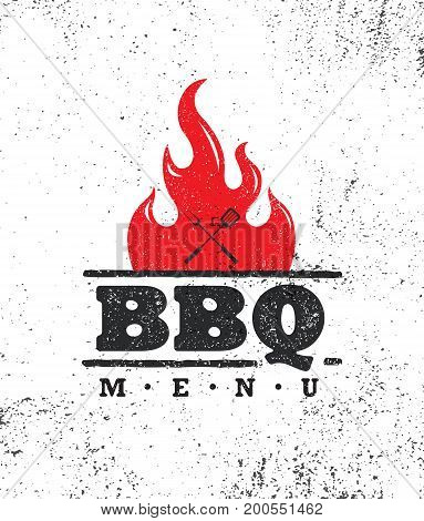 Vintage Outdoor Food Barbecue BBQ Graphic Vector Design Element.