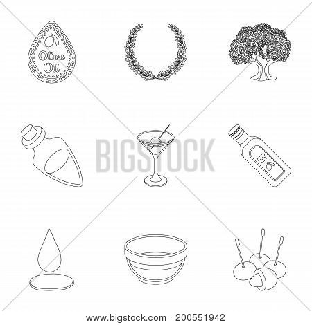 Olives, tree, branch and other products from olives.Olives set collection icons in outline style vector symbol stock illustration .