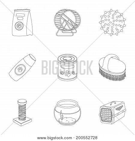 Collar, pet food and other products. Pet shop set collection icons in outline style vector symbol stock illustration .