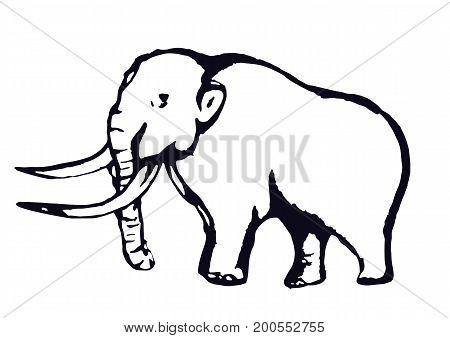 Mammoth outline contour hand drawing sketch isolated on a white background. Vector illustration