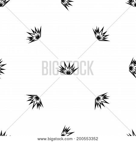 Nuclear explosion pattern repeat seamless in black color for any design. Vector geometric illustration