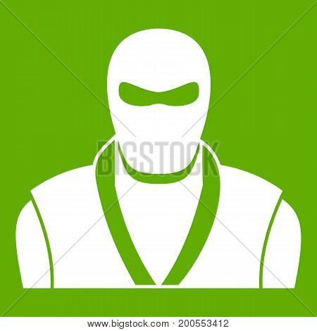 Ninja in black mask icon white isolated on green background. Vector illustration