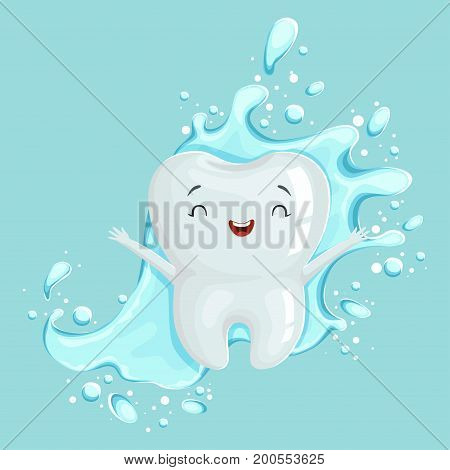 Cute healthy white cartoon tooth character with mouthwash, oral dental hygiene, childrens dentistry concept vector Illustration on a light blue background