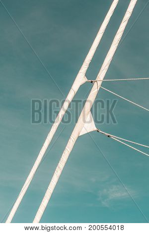 Detailed Closeup Of Mast Rigging Top On Sail Boat