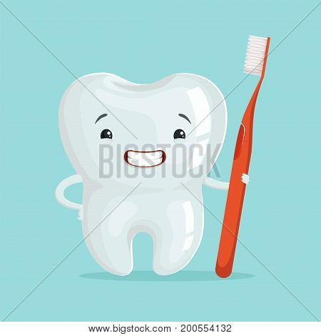 Cute healthy white cartoon tooth character with red toothbrush, childrens dentistry concept vector Illustration on a light blue background