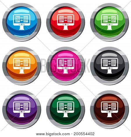 Translator app on the screen of computer set icon isolated on white. 9 icon collection vector illustration