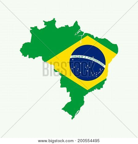 Brazil map with brazil flag inside. Vector illustration