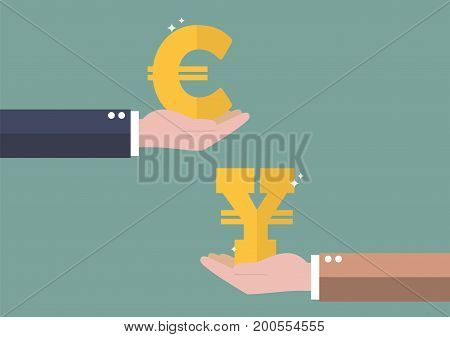 Currency exchange Euro and Yen. Business concept