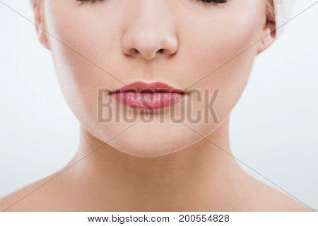 Close Up Portrait Of Beautiful Girl's Lips