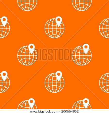 Globe with pin pattern repeat seamless in orange color for any design. Vector geometric illustration