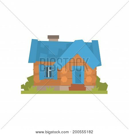 Ancient timbered log cabin with blue roof vector Illustration on a white background