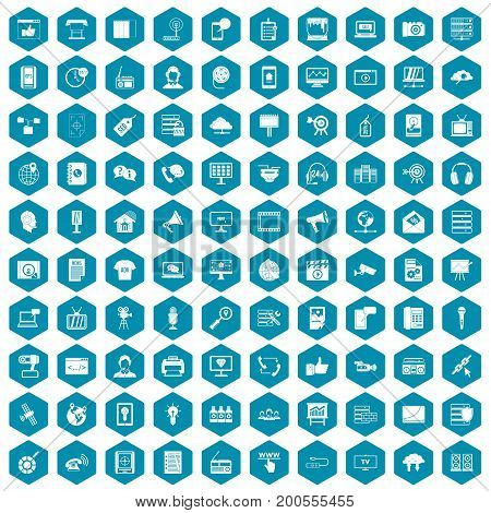 100 information technology icons set in sapphirine hexagon isolated vector illustration