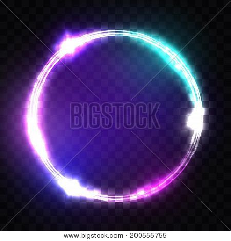 Night Club Neon Sign. Techno Frame with Glowing and Light on Transparent Background. Electric Banner Design on Dark Blue Backdrop. Neon Abstract Circle with Flares and Sparkles. 3d Vector Illustration