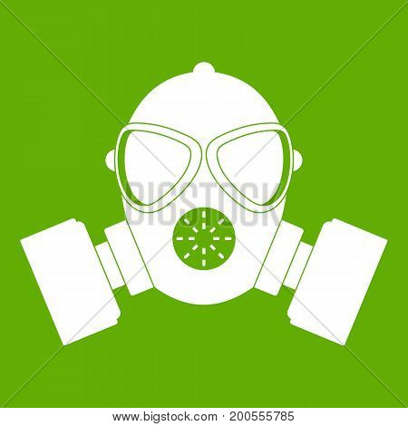 Respirator icon white isolated on green background. Vector illustration