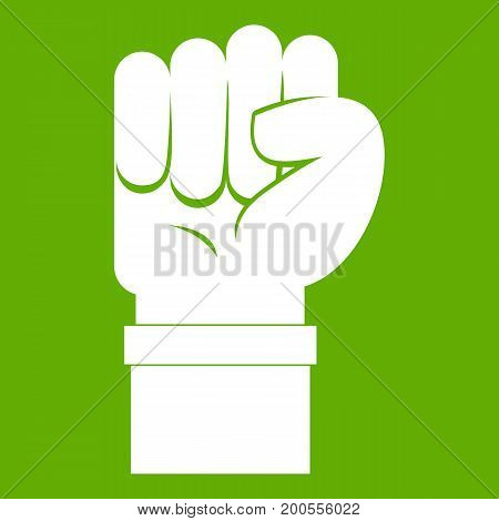 Fist icon white isolated on green background. Vector illustration