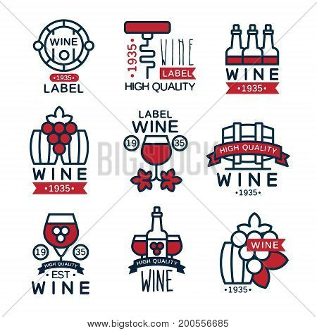 Red wine vintage labels set, collection of abstract grape wine emblems vector Illustrations on a white background