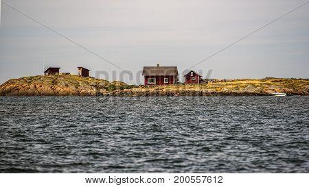 Swedish cottages off the Swedish coast in Varberg