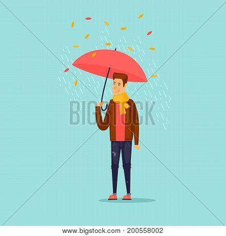 Autumn guy with an umbrella. Flat design vector illustration.
