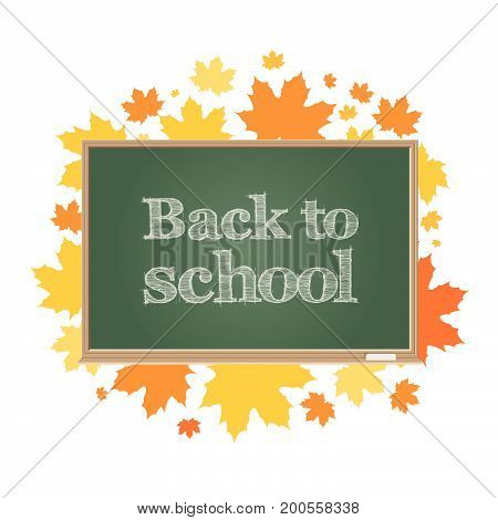 Back to school. Green board on a background of autumn maple leaves. Vector illustration.