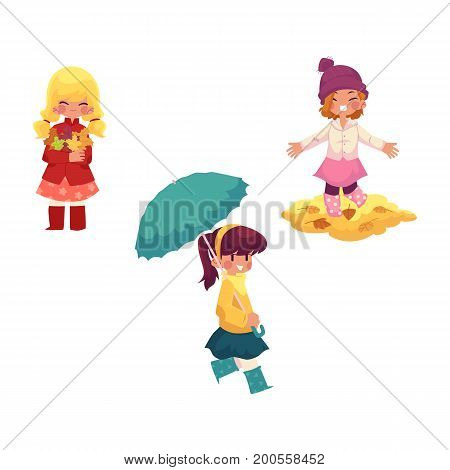 vector girls character set. Kid keeping umbrella in hand, , girls collect autumn falling leaves throw it up in autumn clothing. cartoon isolated illustration on a white background Autumn kids activity
