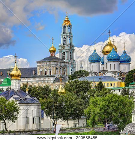 Sergiev Posad monastery (Trinity Lavra of St. Sergius) - most important Russian monastery of the Russian Orthodox Church. Sergiev Posad, Russia
