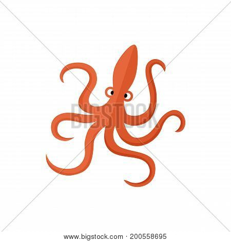 Funny red octopus, flat cartoon vector illustration isolated on white background. Simple funny, childish octopus, flat cartoon vector illustration