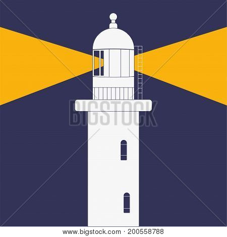 Lighthouse or Beacon  at night flat styled vector icon.