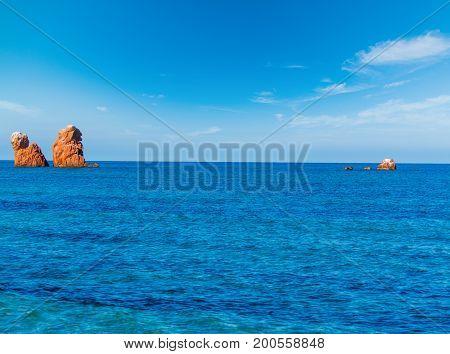 Sea stacks in Cea beach. Sardinia Italy