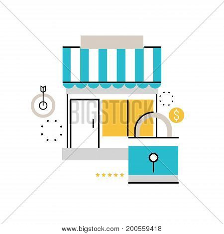 Safe online shopping, protected online order and payment, e-commerce, purchasing online flat line vector illustration design for mobile and web graphics