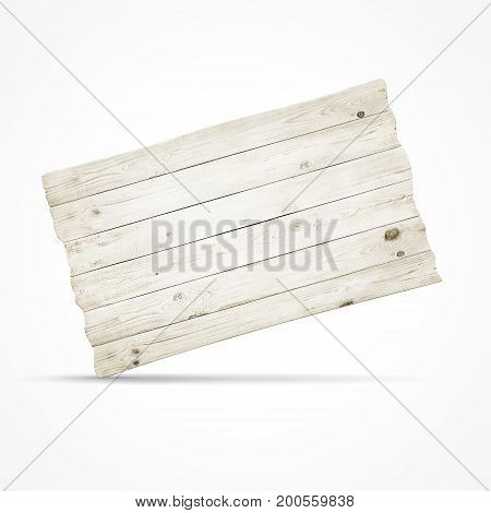 Wooden sign board isolated over white background