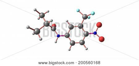 Flutamide is a nonsteroidal antiandrogen NSAA used primarily to treat prostate cancer. It acts as a selective antagonist of the androgen receptor. 3d illustration
