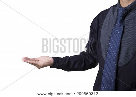 business open hand as showing something isolated on white background.