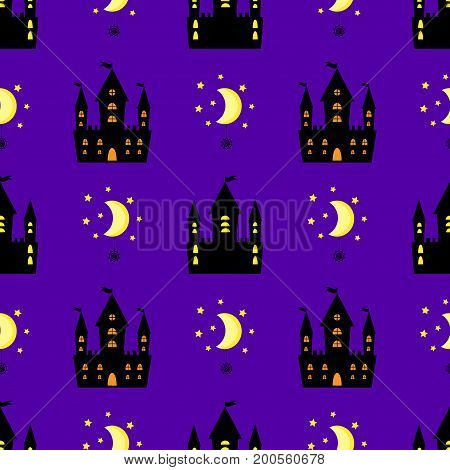 castle halloween seamless pattern vector fabric, evil, party, bat, moon, spider