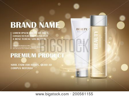 A beautiful cosmetic template for ads realistic 3d white tube and gold translucent bottle on background with flare effect. Moisturizing skincare cream hair oil premium product