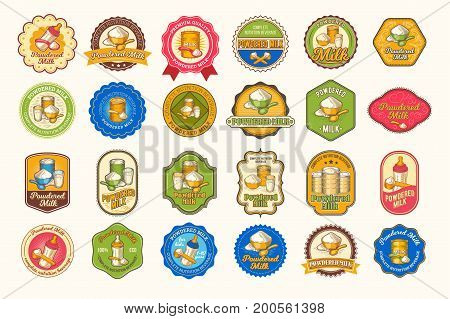 Set of vector illustrations of colored icons, stickers, labels of powdered milk isolated on white background.Shape, element for design, label