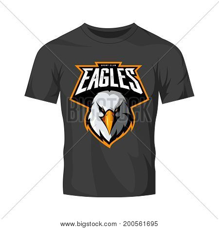 Furious eagle head athletic club vector logo concept isolated on black t-shirt mockup.  Modern sport team mascot badge design. Premium quality wild bird emblem t-shirt tee print illustration.