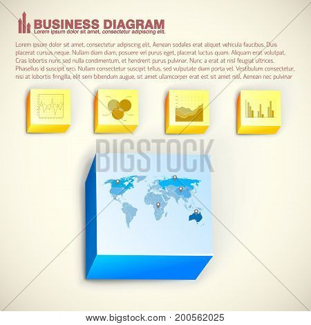 Business infographic template with 3d bricks diagrams graphs charts and map on light background isolated vector illustration