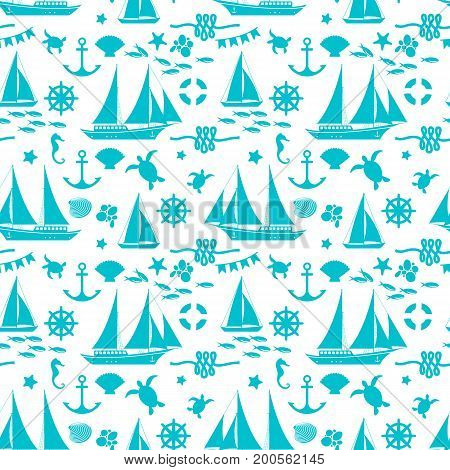 Sea seamless pattern with animals ship shell anchor lifebuoy wheel rope silhouettes on light background vector illustration
