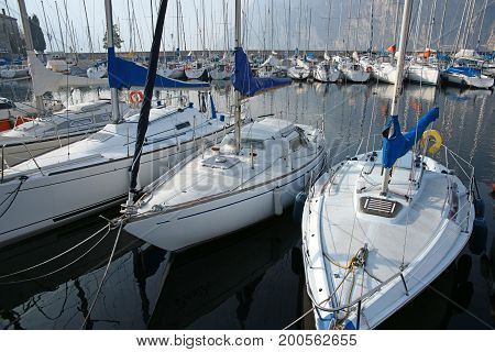 Sailboats in the marina. Panorama of sailboats in the harbor