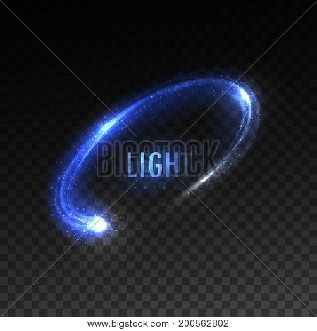 Vector blue circular light stream isolated on checkered transparent background. Glowing tracing neon light effect. Vector illustration. Luminous round ellipse line. Illumination VFX effect