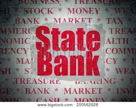 Banking concept: Painted red text State Bank on Digital Data Paper background with   Tag Cloud