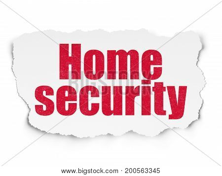 Security concept: Painted red text Home Security on Torn Paper background with  Tag Cloud