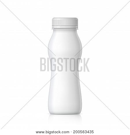 Realistic plastic bottle for yogurt or milk and other liquids. Mock Up Template. Vector illustration