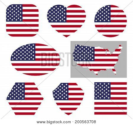 Vector usa national flag icons isolated on white background. American patriotic signs