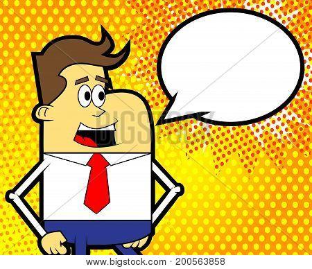 Retro cartoon man with blank speech bubble - comic book style vector illustration.